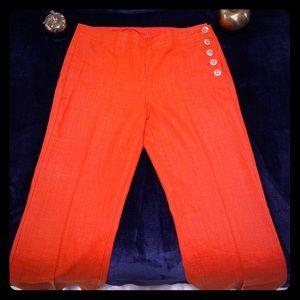 Orange Red Wide Leg Pants
